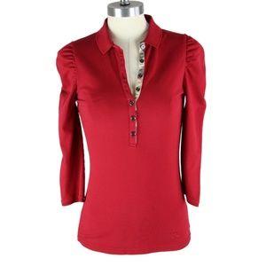 BURBERRY Pique Design Cotton ¾ Cap Sleeve Polo S
